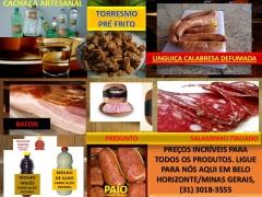 Coisas da roÇa, produtos artesanais, pinga, linguiÇa, bacon, presunto, cachaÇa, bh, mg