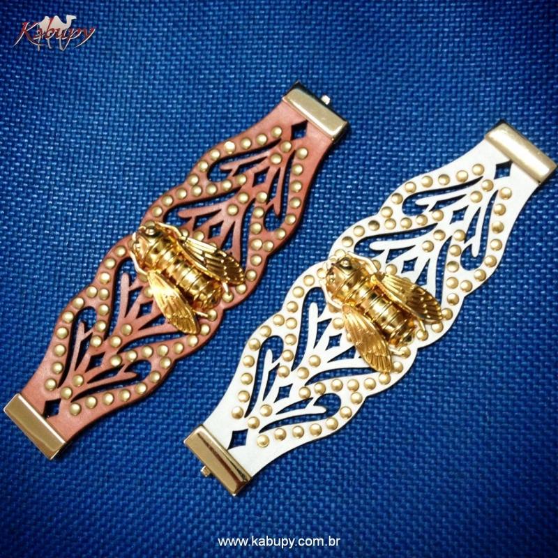 Braceletes Kafé de Couro = www.kabupy.com.br