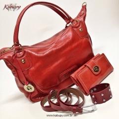 Bolsas femininas de couro kabupy - vermelho