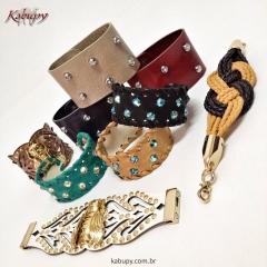 Braceletes femininos de couro - kabupy