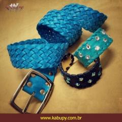 Cintos femininos artesanais e acessórios de couro kabupy